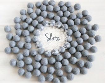 Wool Felt Balls - Size, Approx. 2CM - (18 - 20mm) - 25 Felt Balls Pack - Color Slate-8020 - Felt Pom Pom - 2CM Gray Felt Balls - Beads