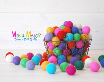 3CM Wool Felt Balls - Mix and Match Pack - 100% Wool Felt Balls - (3cm/30mm) - Colorful Felt Balls - Rainbow Felt Balls - Medium Felt Balls