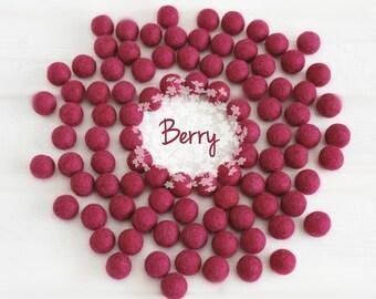 Wool Felt Balls - Size, Approx. 2CM - (18 - 20mm) - 25 Felt Balls Pack - Color Berry-3035 - Felt Balls - Felt Pom Poms - Berry Felt Balls