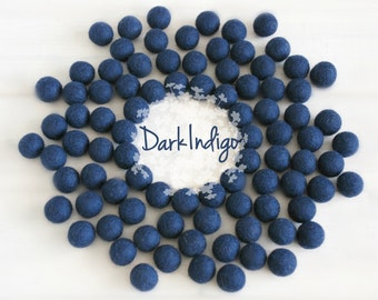 Wool Felt Balls - Size, Approx. 2CM - (18 - 20mm) - 25 Felt Balls Pack - Color Dark Indigo-2095 - Dark Blue Pom Poms - Dark Blue Felt Balls