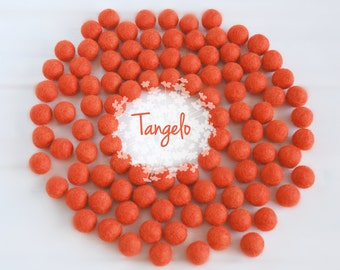 Wool Felt Balls - Size, Approx. 2CM - (18 - 20mm) - 25 Felt Balls Pack - Color Tangelo-5030- 2CM Tangelo Felt Balls - Deep Orange Felt Balls