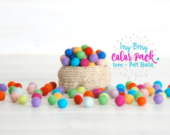 1CM Tiny Wool Felt Balls - Colorful Felt Balls - 1CM Wool Felt Balls -10mm - 100% Wool Felt Pom Poms - 10mm Felt Balls  - Single Color Pack