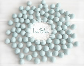 Wool Felt Balls - Size, Approx. 2CM - (18 - 20mm) -25 Felt Balls Pack- Color Ice Blue-2010 - Wool Felt Pom Pom - Ice Blue Felt Balls - Beads