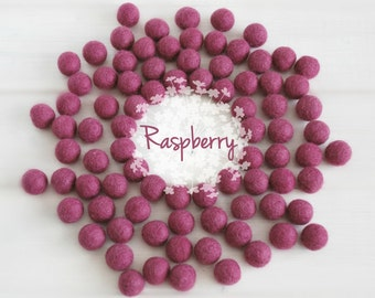 Wool Felt Balls - Size, Approx. 2CM - (18 - 20mm) - 25 Felt Balls Pack - Color Raspberry-3030 - Berry Felt Pom Poms - Berry Felt Wool Balls