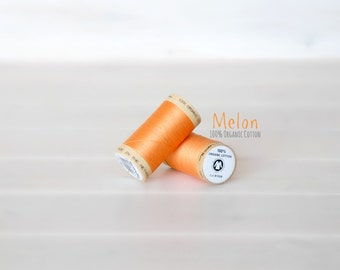 Organic Cotton Thread GOTS - 300 Yards Wooden Spool  - Thread Color Melon - No. 4804 - Eco Friendly Thread - 100% Organic Cotton Thread