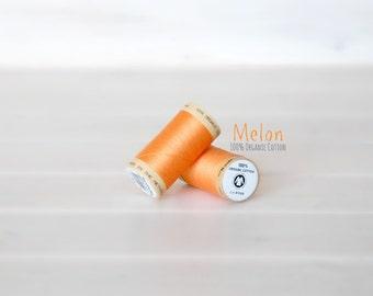 Organic Cotton Thread GOTS - 300 Yards Wooden Spool  - Thread Color Melon - No. 4804 - Eco Friendly Thread - 100% Organic Cotton Thread