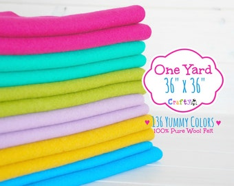 "1 Yard - 100%  Merino Wool Felt by the Yard - 36"" X 36"" - Choose your Color - One Square Yard - Felt Fabric - Felt by the Yard - FINAL SALE"