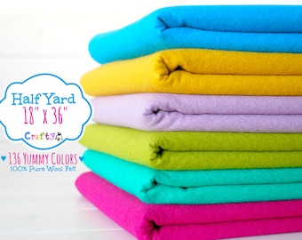 "1/2 Yard of Merino Wool Felt - 18"" X 36"" - 100% Wool Felt by the Yard - You Choose your Color - Large Felt Sheet - Wool Felt by the yard"