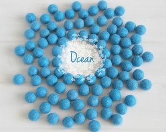 Wool Felt Balls - Size, Approx. 2CM - (18 - 20mm) - 25 Felt Balls Pack - Color Ocean-2070- 2CM Felt Balls - Felt Pom Pom - Blue Felt Balls