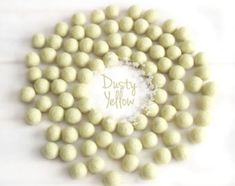 Wool Felt Balls - Size, Approx. 2CM - (18 - 20mm) - 25 Felt Balls Pack - Color Dusty Yellow-6010 - 2CM Pom Pom - Pastel Yellow Felt Balls