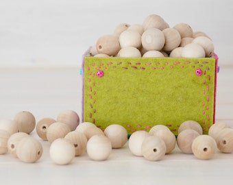 "100 Round Wood Beads - 20MM Wooden Balls (3/4"") - Unfinished Wooden Beads - DIY Wood Crafts"