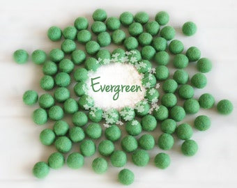 Wool Felt Balls - Size, Approx. 2CM - (18 - 20mm) - 25 Felt Balls Pack - Color Evergreen-1056 - Green Wool Felt Balls - Green Felt Pom Poms