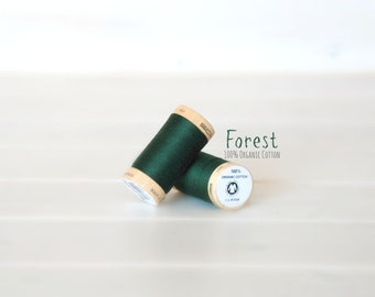 Organic Cotton Thread GOTS - 300 Yards Wooden Spool  - Thread Color Forest - No. 4822 - Eco Friendly Thread - 100% Organic Cotton Thread