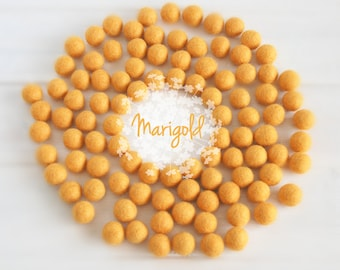 Wool Felt Balls - Size, Approx. 2CM - (18 - 20mm) - 25 Felt Balls Pack- Color Marigold-6040 - Golden Yellow Color - 2CM Goldrod Felt Balls