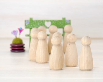 10 or 12 Wooden Peg Dolls - Unfinished Wooden People - Girl wood doll - Set of 10 or 12 wooden girls in a Muslin Bag - DIY Crafts