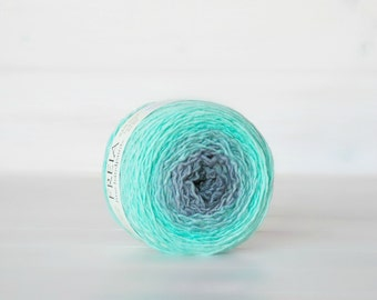 Hand Dyed Gradient Yarn - 100% Wool - Color:Mint Julep Ombre - 1Ply Sport Yarn - Gray Color Yarn by Freia - Mint Wool Yarn - Gradient Yarn
