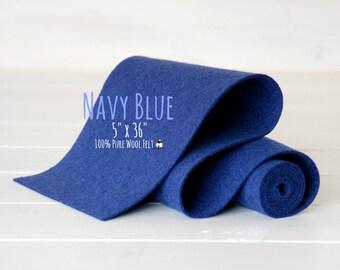 "Wool Felt Roll - 5"" x 36"" 100% Wool Felt Roll - Wool Felt Color Navy Blue-2200 - Pure Wool Felt - Navy Blue Color Wool Felt Roll - Blue Felt"