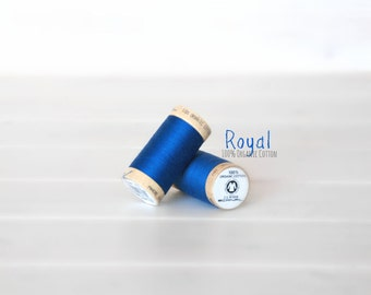 Organic Cotton Thread GOTS - 300 Yards Wooden Spool  - Thread Color Royal Blue - No. 4817 - Eco Friendly Thread - 100% Organic Cotton Thread