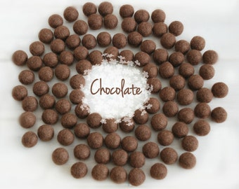 Wool Felt Balls - Size, Approx. 2CM - (18 - 20mm) - 25 Felt Balls Pack - Color Chocolate-7040 - Brown Pom Poms - 2CM Brown Color Felt Balls