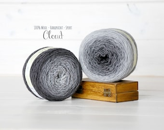 1 Hand Dyed Yarn Balls - 100% Wool - Color: Cloud Ombre - 1Ply Sport Yarn - Colorful Soft Yarns by Freia - 1 Balls - Gray Ombre Sport Yarn