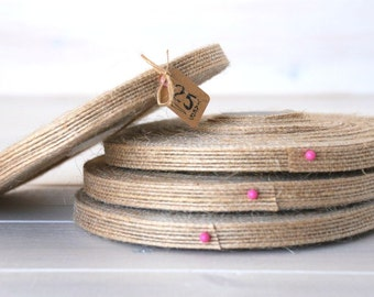 "Natural Burlap Ribbon - 25 Yards of Natural Jute Ribbon -  3/8"" Wide - Jute Ribbon - Natural Burlap Ribbon - Wedding Ribbons - DIY Weddings"
