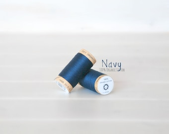 Organic Cotton Thread GOTS - 300 Yards Wooden Spool  - Thread Color Navy Blue - No. 4815 - Eco Friendly Thread - 100% Organic Cotton Thread