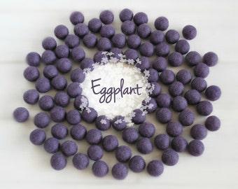 Wool Felt Balls - Size, Approx. 2CM - (18 - 20mm) - 25 Felt Balls Pack -Color Eggplant-3044- Eggplant color Poms - Eggplant color Felt Balls