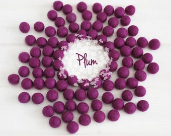 Wool Felt Balls - Size, Approx. 2CM - (18 - 20mm) - 25 Felt Balls Pack - Color Plum-3040 - Felt Balls - Felt Pom Poms - Plum Felt Balls