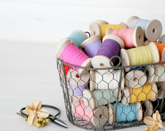 """15 Yards - Cotton Ribbon Bundle - Mix and Match - Eco Friendly Ribbons - 15 Yards - 1/4"""" wide - 5 Yards each color - Choose 3 Colors - Trims"""