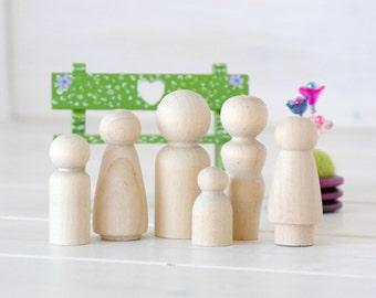Family of 6 Wooden Peg Dolls - Unfinished Wooden People - Medium Family wooden peg dolls in a Muslin Bag - Set of 6 - DIY Crafts