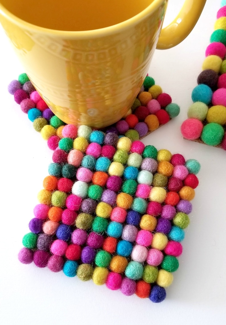 DIY Round or Square Coasters Felt Ball Coasters Kit Fun Coaster Kit One or Two Wooden Coasters /& Colorful Felt Balls for a DIY Kit