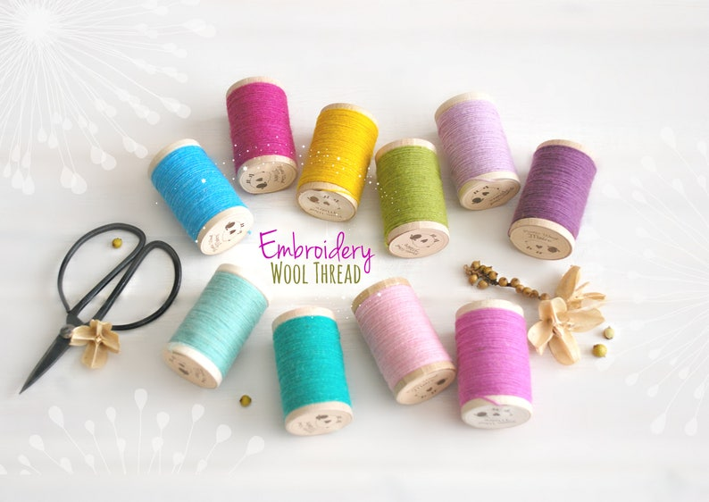 Wool Embroidery Thread  100% Wool Thread  Rustic Wool Thread image 0
