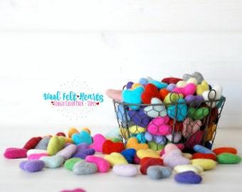 Wool Felt Hearts - 10 Wool Felt Hearts - (3-4CM/30-40MM) - 10 Felted Hearts - Wet Felted Hearts - Single Color Bundle - Choose a Color