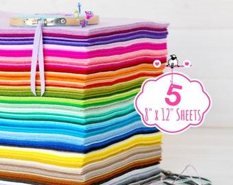 "100% Wool Felt Sheets - Sheets of 8"" X 12"" - Merino Wool Felt - Wool Felt - 4, 5 or 6 Wool Felt Sheets - Choose your Colors - FINAL SALE"