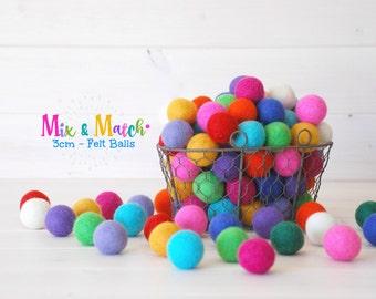 3CM Wool Felt Balls - Mix and Match Pack - 100% Wool Felt Balls - (3cm/30mm) - Colorful Felt Balls - Rainbow Felt Balls - Medium Felt Balls