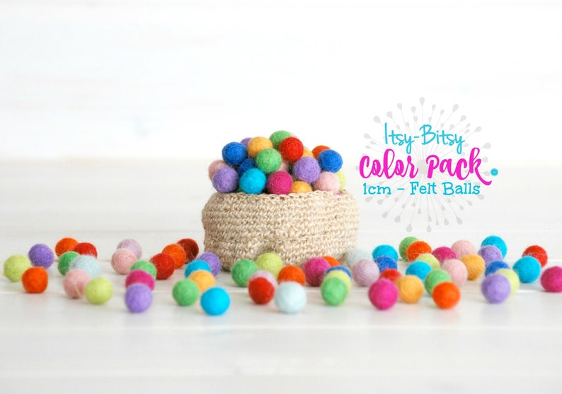 1CM Tiny Wool Felt Balls  Colorful Felt Balls  1CM Wool Felt image 0