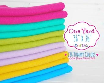 """1 Yard - 100%  Merino Wool Felt by the Yard - 36"""" X 36"""" - Choose your Color - One Square Yard - Felt Fabric - Felt by the Yard - FINAL SALE"""