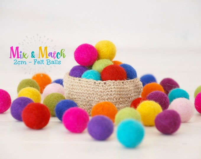 Featured listing image: Wool Felt Balls - Mix and Match - 2CM Wool Felt Balls - Size approx. 2CM - Colorful Felt Balls - 2CM Felted Balls - 2CM - Choose Your Colors