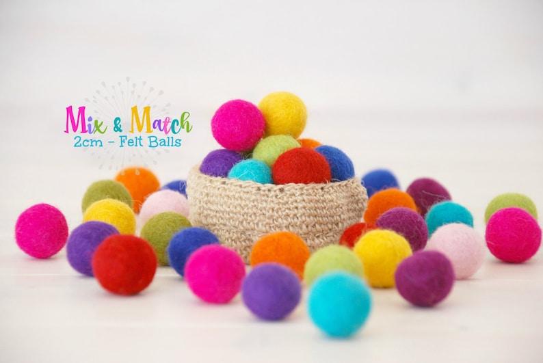 Wool Felt Balls  Mix and Match  2CM Wool Felt Balls  Size image 0