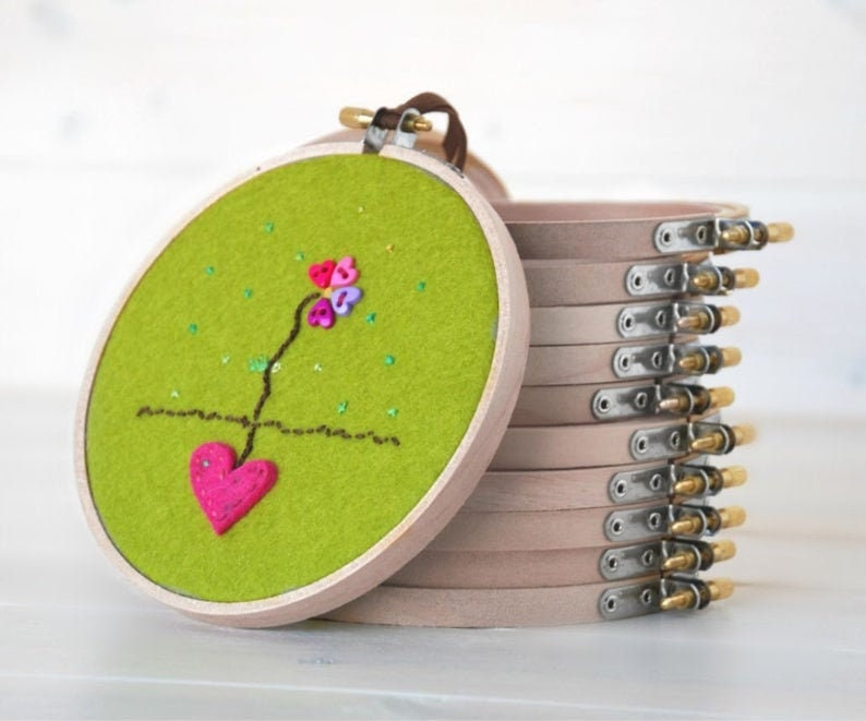 6  pack  5 or 6 Wooden Embroidery Hoop  image 0
