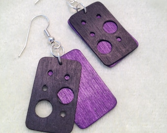 Black and Purple Wood Earrings with Cut-Outs