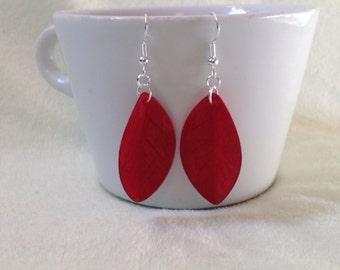 Ruby Red Folded Leaf Wood Earrings/ Wood Earrings/ Wood Jewelry/ Red Earrings