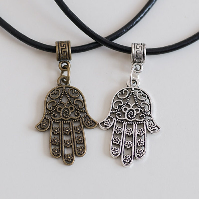 Antique Bronze / Silver Hamsa Hand Necklace with Real Black image 0