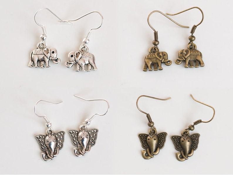Antique Silver/Bronze Elephant Hook Dangle Earrings image 0