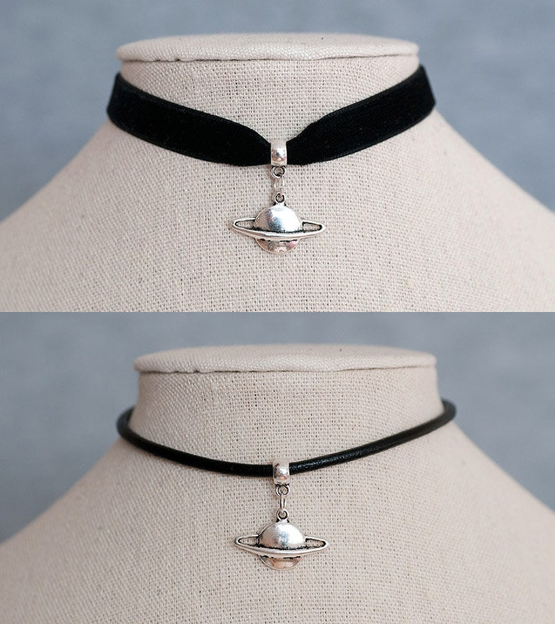 Black Velvet Ribbon/Real Black Leather Cord Choker Necklace image 0