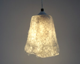 Handfelted lampshade, pendant light, lamp, white hanging lamp, felted natural white wool & lace fabric.