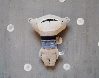 Linen teddy bear primitive safe stuffed bear 7' baby shower gift nursery decor baby safe