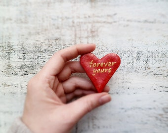 Red heart magnet Forever yours love message poppy red scarlet gold Valentines day decor, Valentine gift
