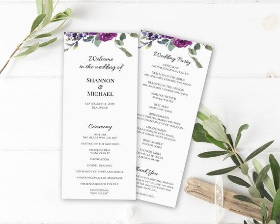 Printable Wedding Program Template Boho Blush Slim Wedding Program WI100 Editable Printable File Instant Download Unique Programs