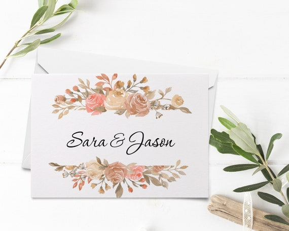 Rose All Day Thank You Cards WI360 Editable Printable File Folded Cards Template Instant Download